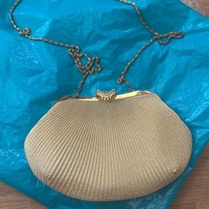 Vintage Paris Fashion gold evening bag